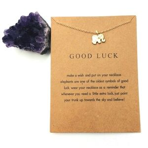Gold Good Luck Elephant Necklace w/ Card